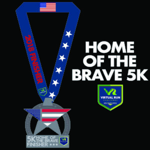 Virtual Run Finisher Medal shaped like a star eagle with the american flag