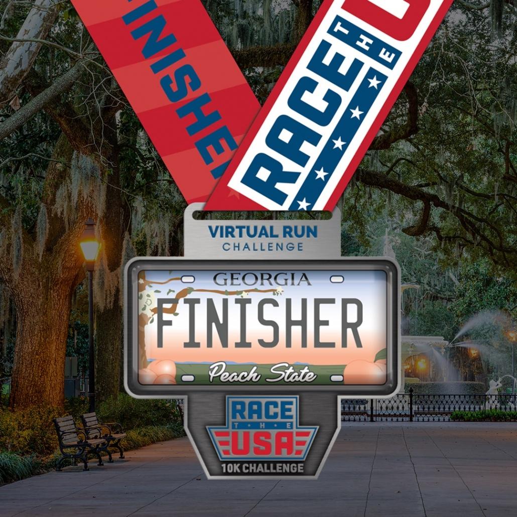 Race the USA Virtual Run 10k Challenge Georgia Finisher Medal