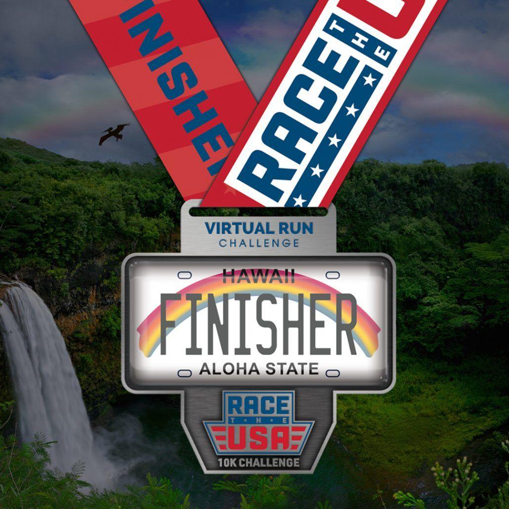Race the USA Virtual Run 10k Challenge Hawaii Finisher Medal