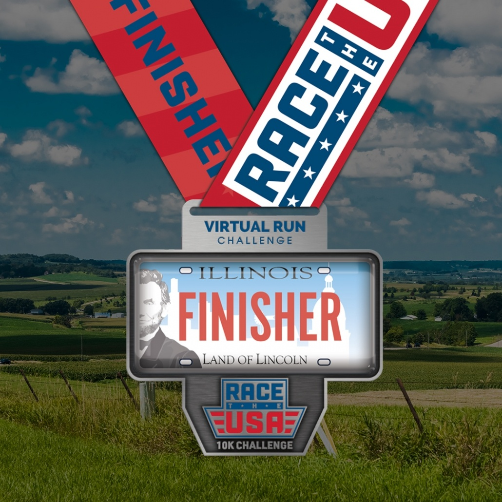 Race the USA Virtual Run 10k Challenge Illinois Finisher Medal