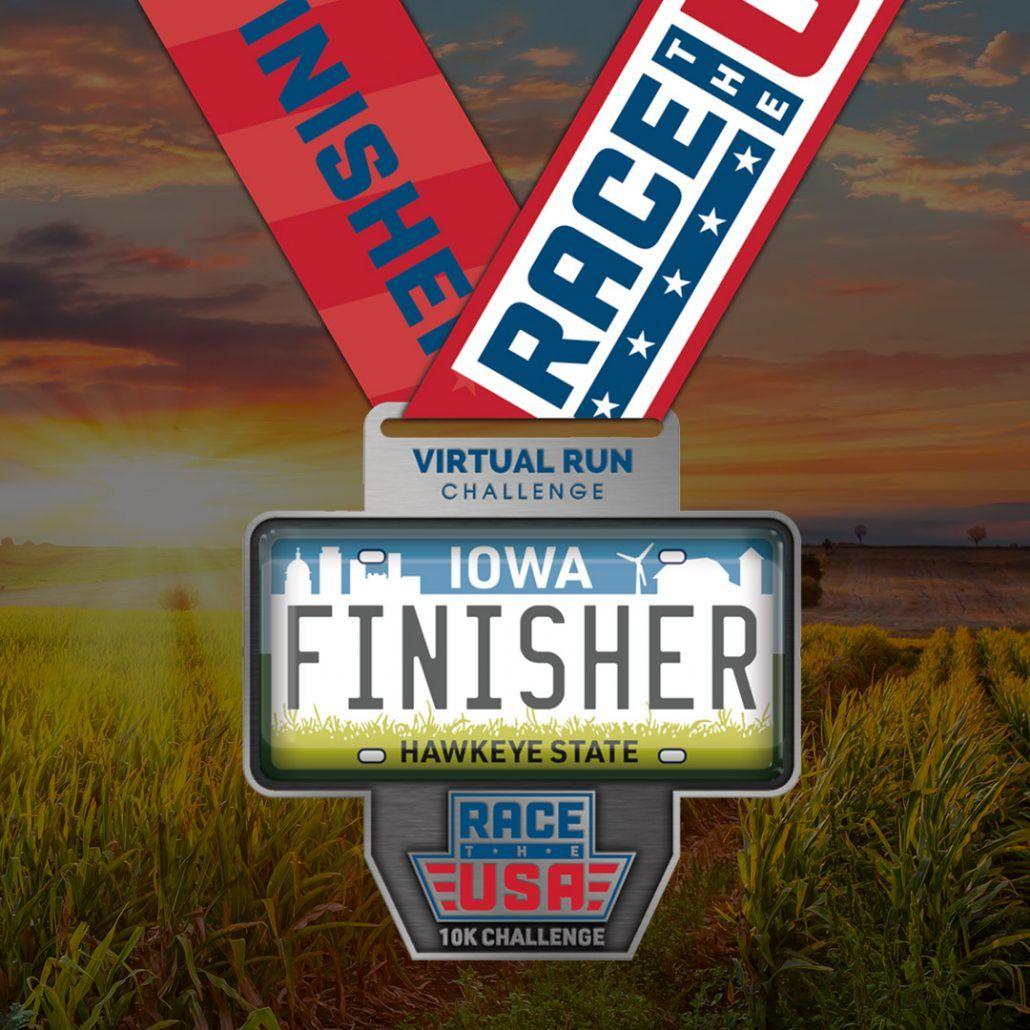 Race the USA Virtual Run 10k Challenge Iowa Finisher Medal
