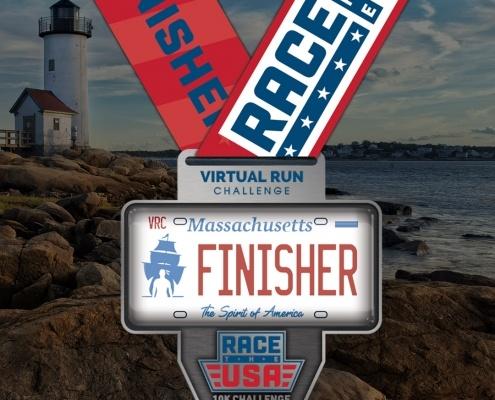Race the USA Virtual Run 10k Challenge Massachusetts Finisher Medal