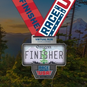 Race the USA Virtual Run 10k Challenge Oregon Finisher Medal