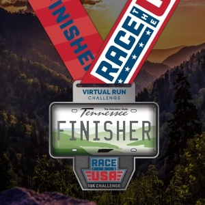 Race the USA Virtual Run 10k Challenge Tennessee Finisher Medal