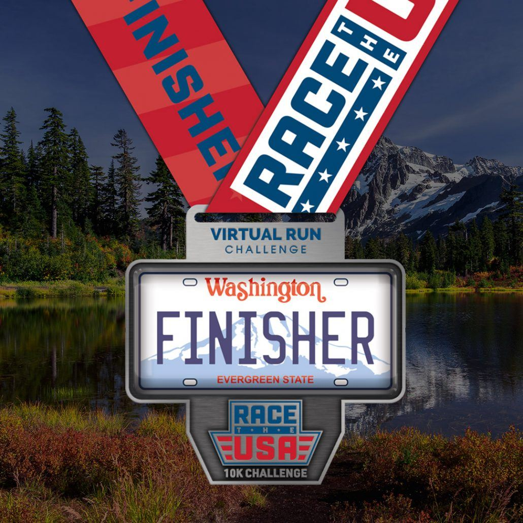 Race the USA Virtual Run 10k Challenge Washington Finisher Medal