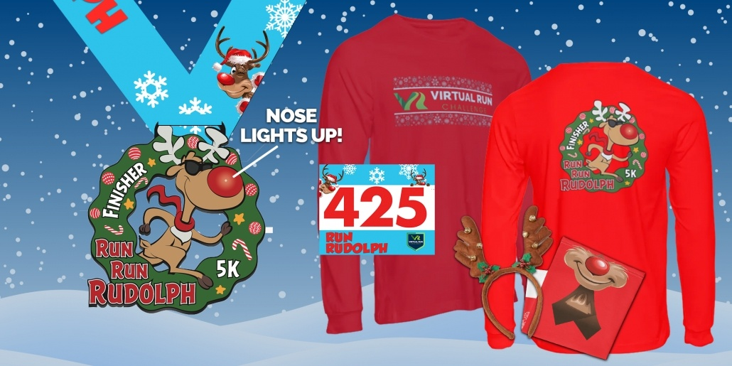 2020 Run Run Rudolph Virtual Run Finisher Swag