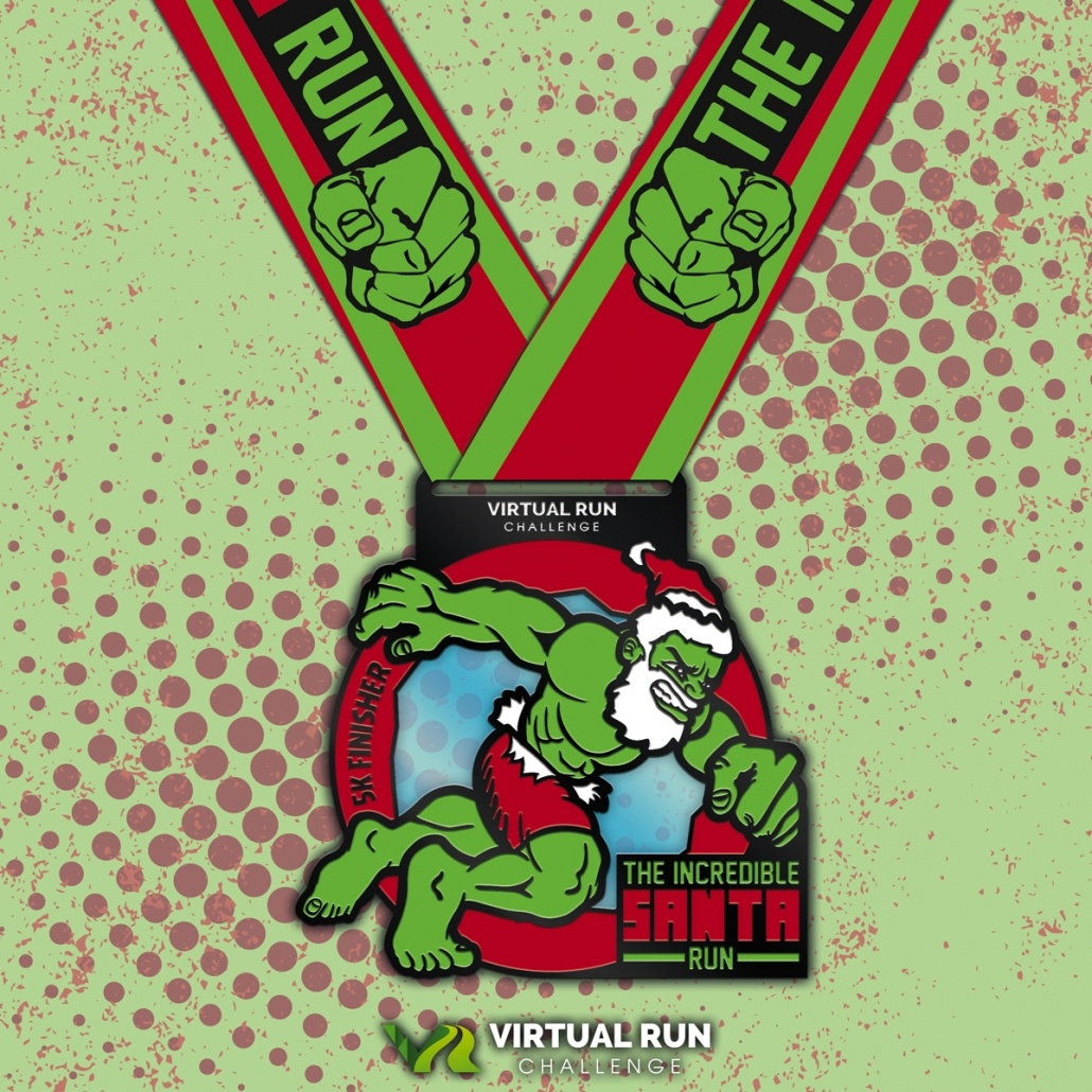 Incredible Santa Virtual Run Walk Finisher Medal