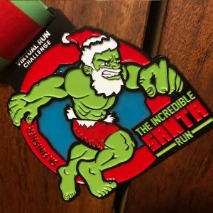 Incredible Santa Green Monster dressed as Santa finisher medal