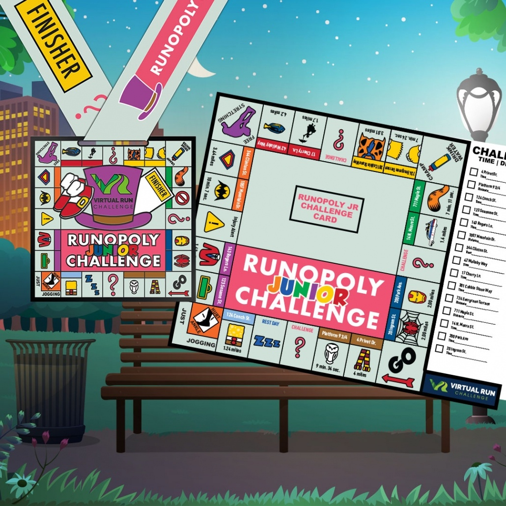 Runopoly Jr. Kids Virtual Running Challenge Board