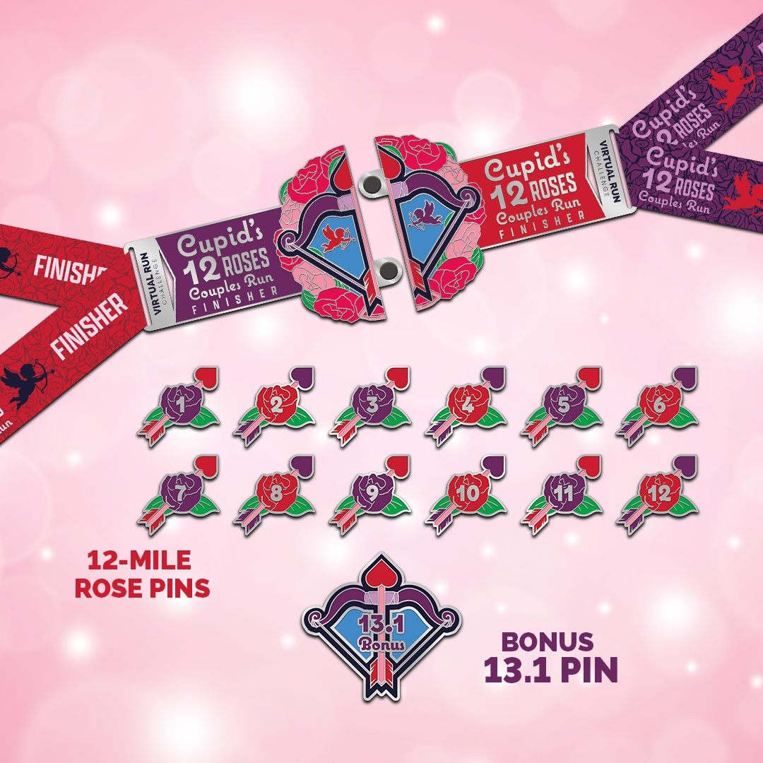 Cupid's 12 Roses Valentines Run Finisher Medal