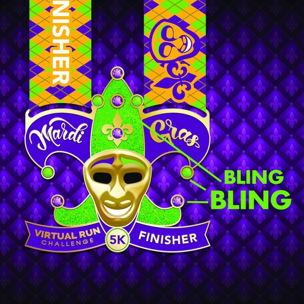 2021 Mardi Gras Virtual 5k Finisher Medal