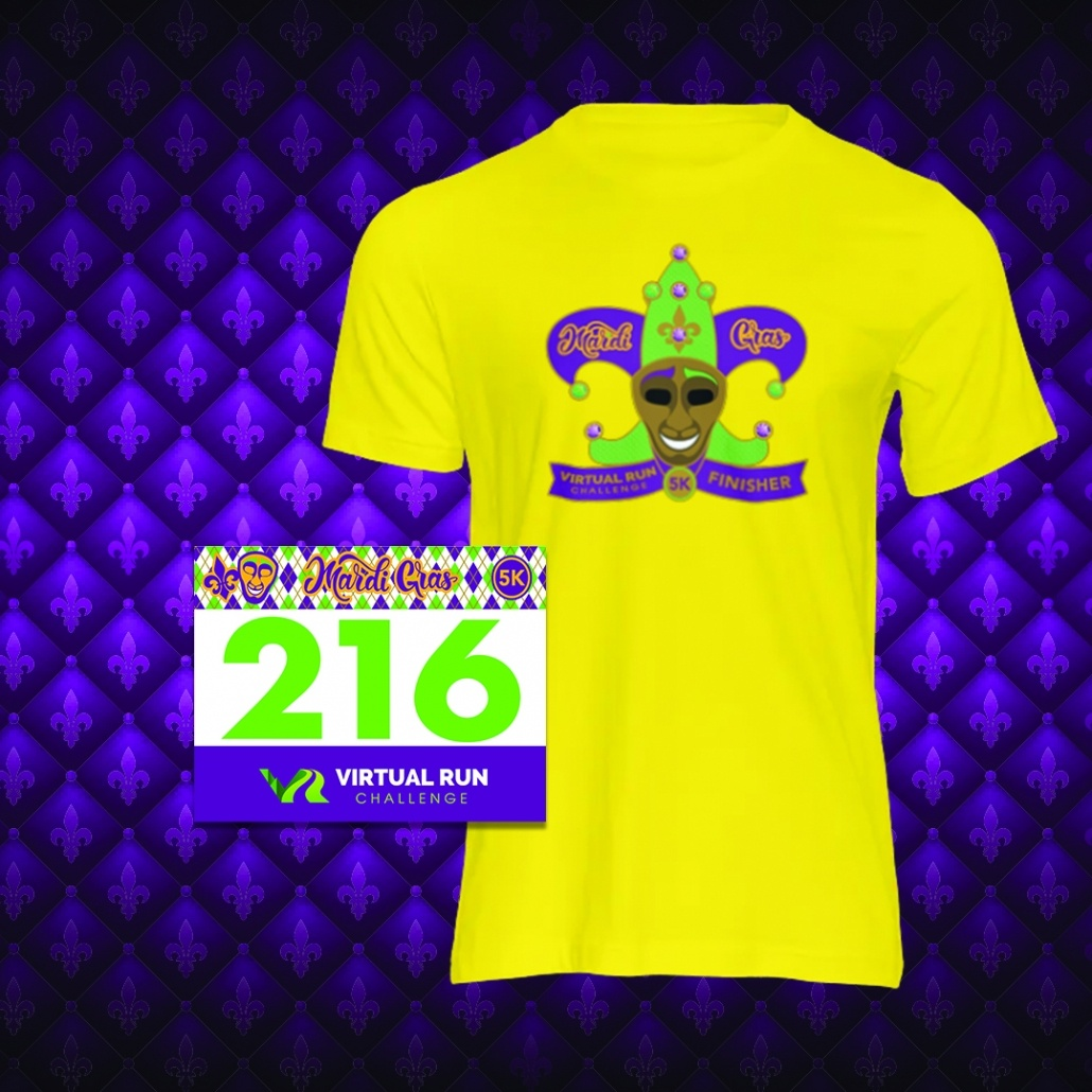 2021 Mardi Gras Virtual 5k Finisher Swag